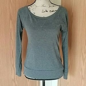 Large Gray Long Sleeve Scoop Neck Tshirt